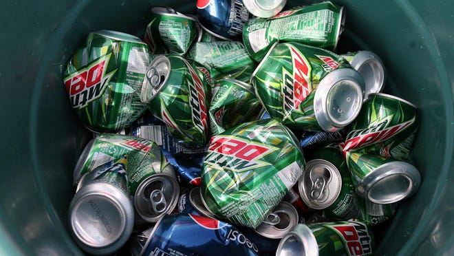 Aluminum cans to be recycled at the Galloway home in Northport, Ala., on Saturday, Aug. 1, 2009.