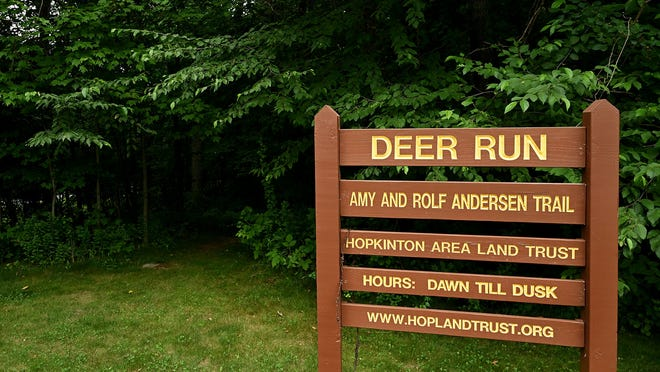 Hopkinton Area Land Trust Deer Run trailhead at the end of Fawn Ridge Road. A solar panel project is planned for the area.
