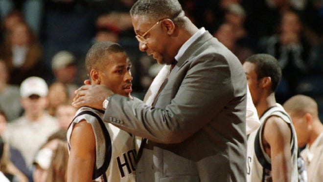 Georgetown coach John Thompson, talking to Allen Iverson during a game against St. John's, is as much remembered for his molding of Black men as he is for his coaching record.