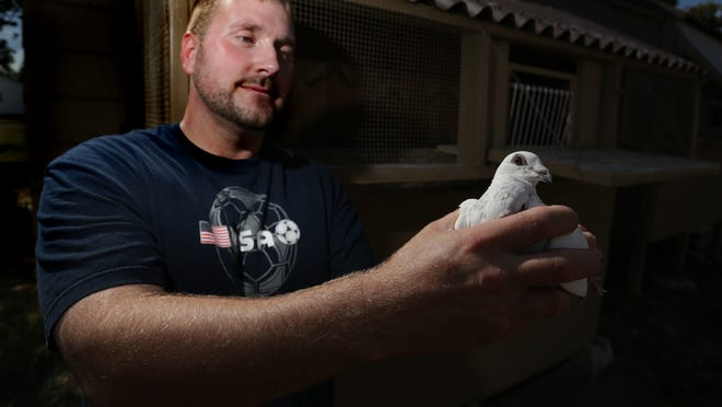 Brian Mader holds one of his pigeons at his residence in Schofield in this photo from August 2013.
