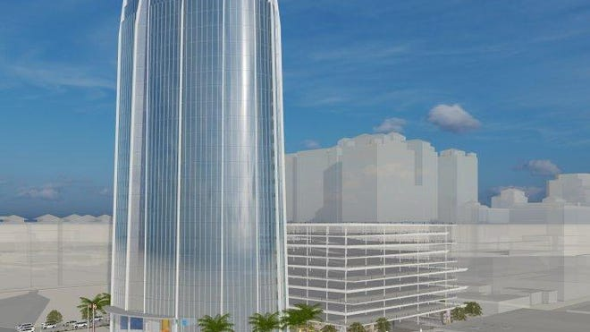 The concept plan for the West Palm Beach tent site includes a 338-foot-tall office tower called West Palm Point, fronting on Quadrille Boulevard, between Okeechobee Boulevard and Lakeview Avenue.