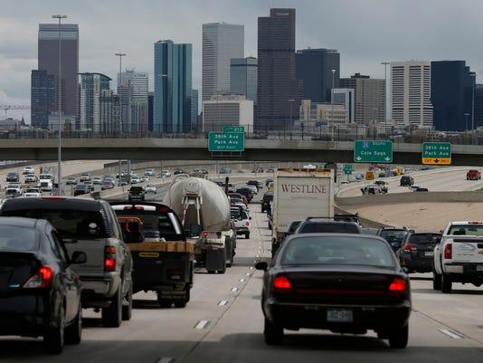 Interstate 25, Denver skyline