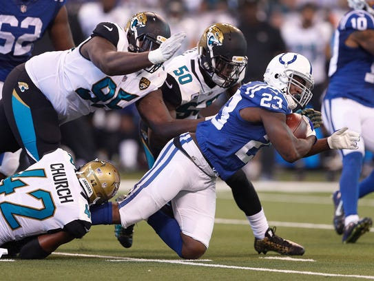 Indianapolis Colts running back Frank Gore (23) is