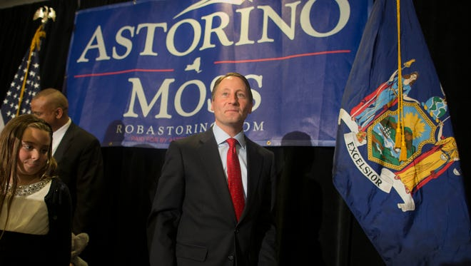 New York Republican gubernatorial candidate Rob Astorino exits the stage after giving his concession speech on Election Night.