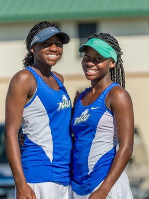 Elizabeth and Sarah Means have become the top doubles team for the FGCU women's tennis team.