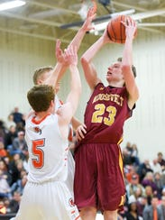 Roosevelt's Jackson Reiff (23) shoots the ball during