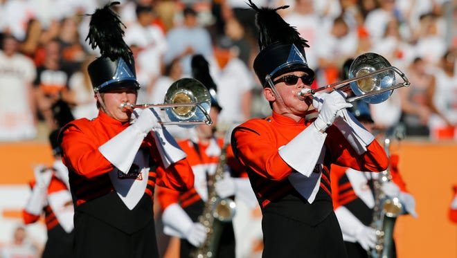 Oregon State band performs during an NCAA college football game in Corvallis, Ore., Saturday, Sept. 19, 2015. (AP Photo/ Timothy J. Gonzalez)