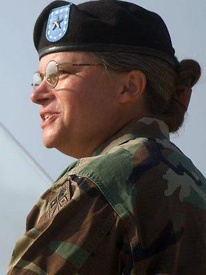 FILE - Fort Gordon commander Brig. Gen. Janet E. A. Hicks, August 7, 2002.