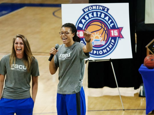 FGCU's Jenna Cobb, left, and Whitney Knight thank fans Monday (3/16/15) at FGCU's NCAA tournament watch party at Alico Arena in Fort Myers.