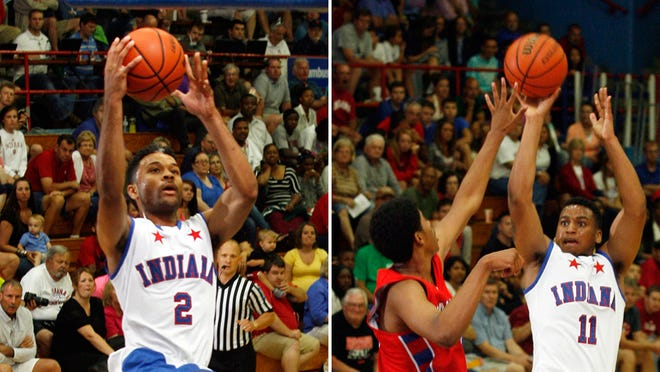 James Blackmon Jr. (left) and Trevon Bluiett (right) combined for 72 points in the Indiana All-Stars' 124-102 win over the Junior All-Stars Wednesday.