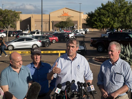 Sen. Jeff Merkley of Oregon gives a statement regarding family separation after visiting the Southwest Key Casa Padre Facility in Brownsville on Sunday, June 17, 2018.