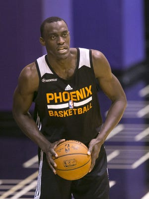Suns draft prospect Pascal Siakam from New Mexico State  during a Suns workout with draft prospects at Talking Stick Resort Arena in Phoenix on Tuesday, May 24, 2016.