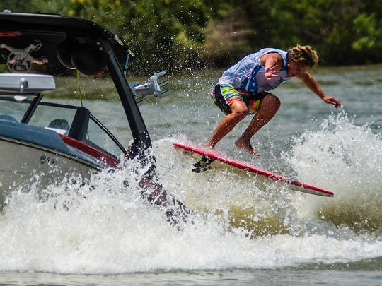 Keenan Flegel competes in the Pro Male Surf division at the Wake the Desert US Open Wake Surfing event July 23, 2017, on Lake Nasworthy.