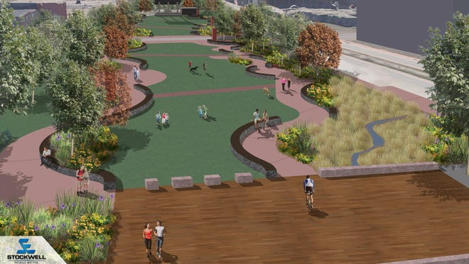 A rendering of Falls Park West shows the future Levitt at the Falls in the distance.