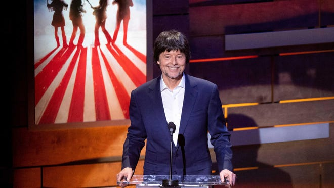 """Ken Burns speaks during a concert celebrating his """"Country Music"""" documentary March 27, 2019, at the Ryman Auditorium in Nashville."""