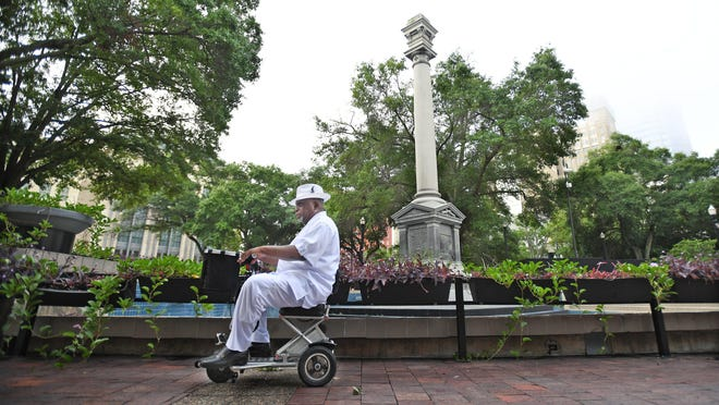 Jacksonville's Hemming Park, photographed in June, had been dominated since the 1890s by a towering statue of a Confederate soldier that Mayor Lenny Curry ordered removed from its pedestal.
