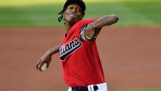 Aug 22, 2020; Cleveland, Ohio, USA; Cleveland Indians starting pitcher Triston McKenzie (26) throws a pitch during the first inning against the Detroit Tigers at Progressive Field. Mandatory Credit: Ken Blaze-USA TODAY Sports