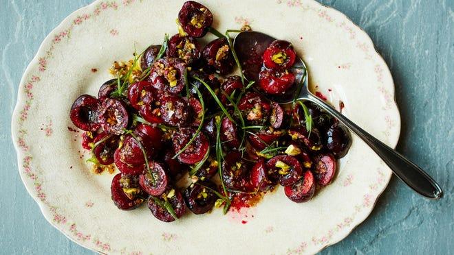 Black cherry-pistachio salad with charred scallion vinaigrette