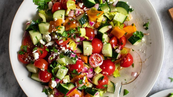 Chopped cucumber-and-tomato salad
