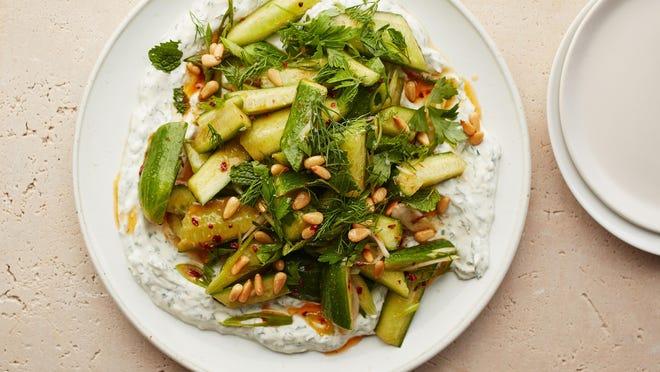 Spicy cucumbers with yogurt, lemon and herbs