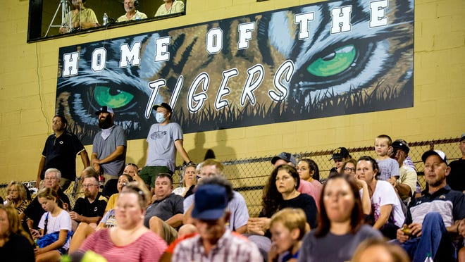 Commerce fans watch during the second half of a varsity high school football game between the Commerce Tigers and the Union County Panthers at Commerce High School in Commerce, Ga., on Friday, Sept. 11, 2020. Commerce went on to beat Union County 32-14.