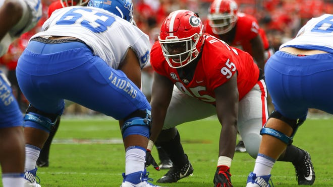 Georgia defensive lineman Devonte Wyatt (95) during a  game between Georgia and Middle Tennessee State University at Sanford Stadium in Athens on Sept., 15, 2018.