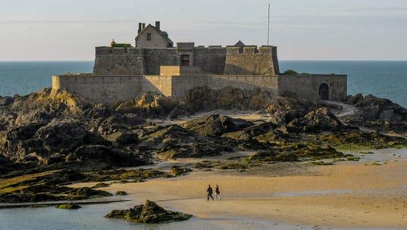 St. Malo's historic prison island at low tide.