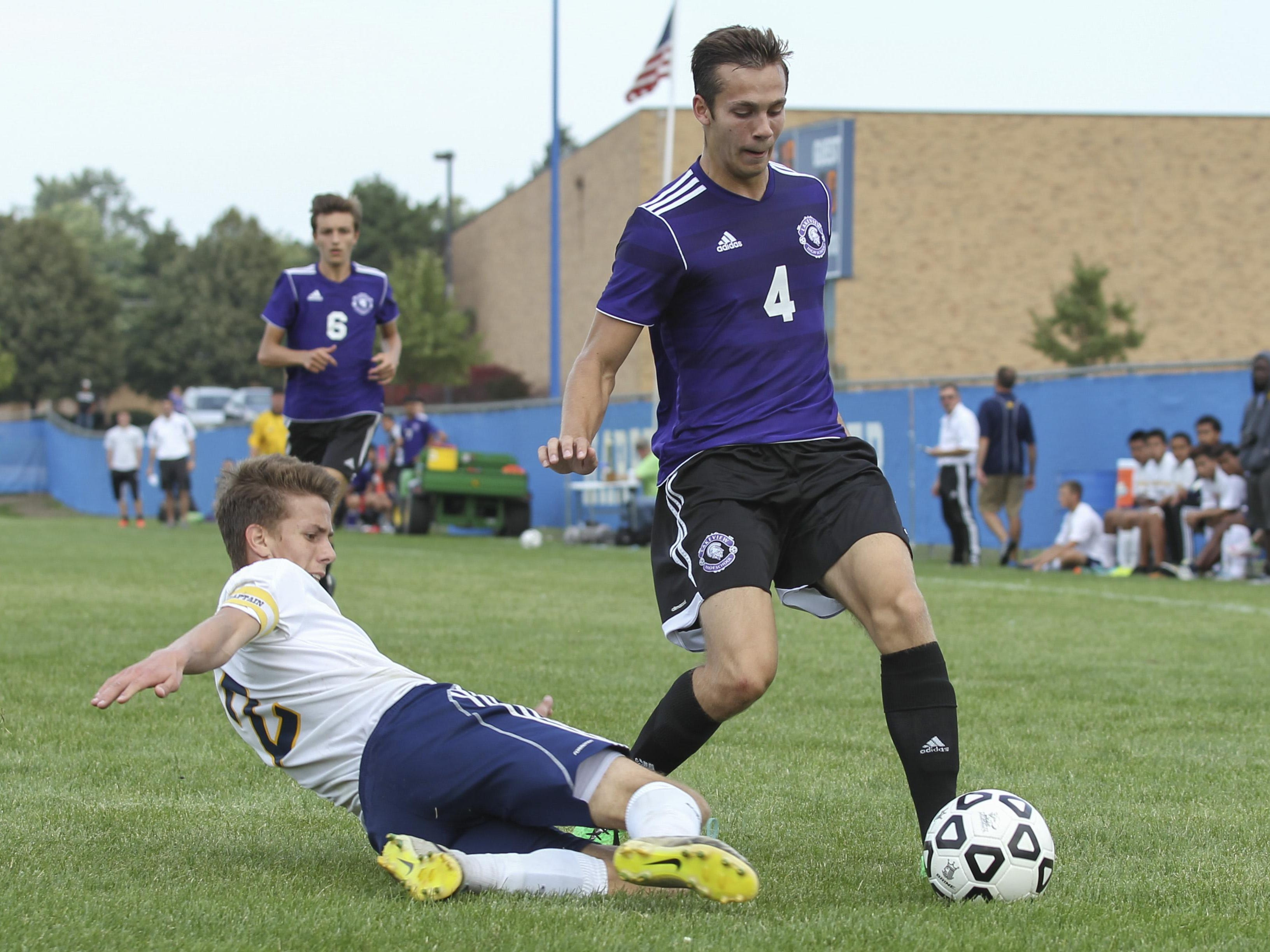 Lakeview's Parker Beuker (4) and Battle Creek Central's Nicholas Insley will meet again on the soccer field in the All-City championship on Saturday.