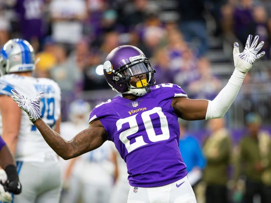 Minnesota Vikings cornerback Mackensie Alexander reacts after sacking Detroit Lions quarterback Matthew Stafford in a 2018  game. An Immokalee native, Alexander is entering his fourth season with the Vikings after being drafted out of Clemson.