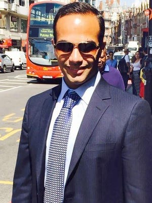 This undated image posted on his Linkedin profile shows George Papadopoulos posing on a street of London. The former Trump campaign adviser should spend at least some time in prison for lying to the FBI during the Russia probe, prosecutors working for special counsel Robert Mueller said in a court filing Friday