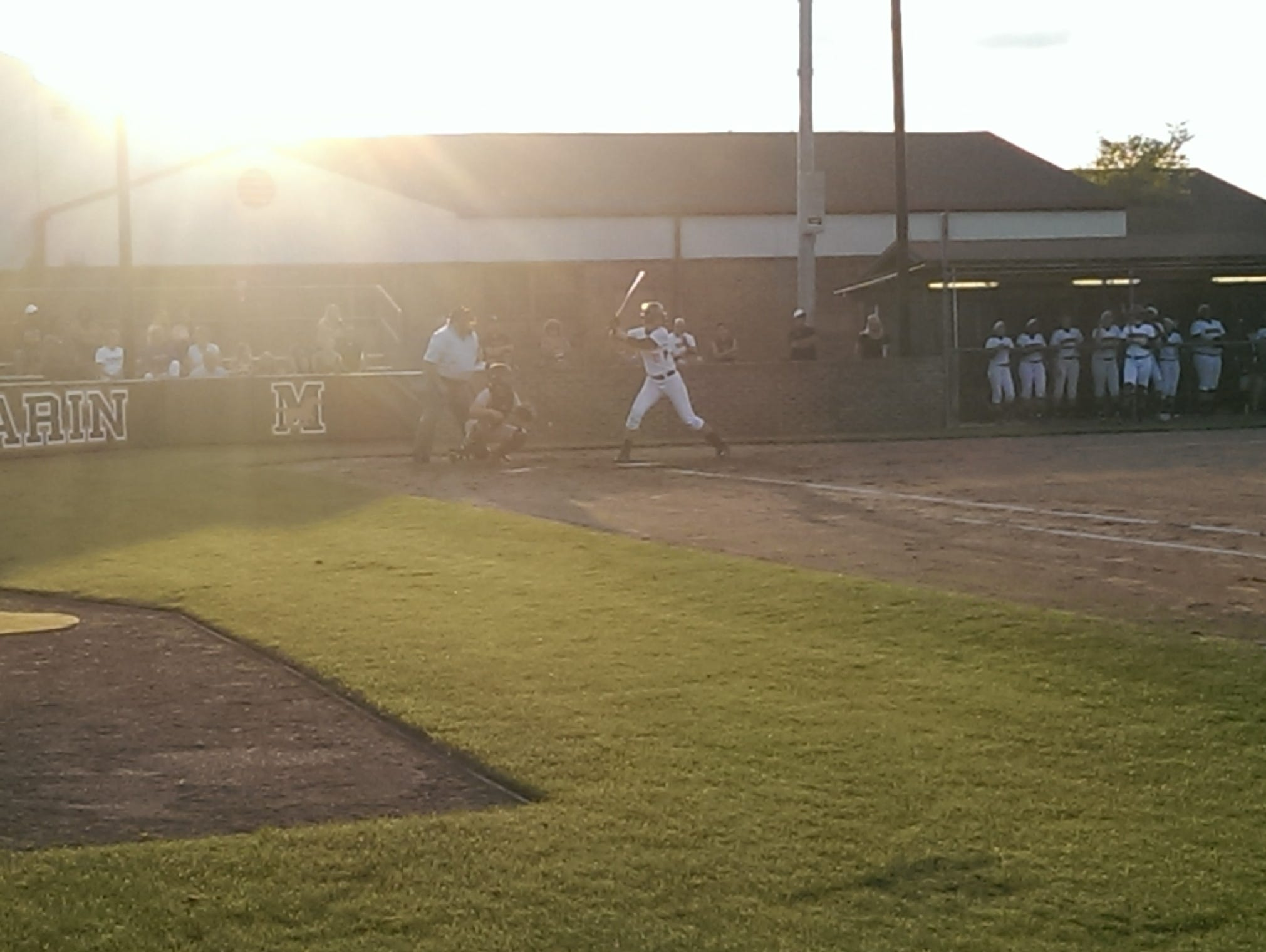 Kendall Reid takes her turn at bat during a recent playoff game.