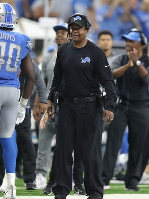 Jim Caldwell smiles in the fourth quarter of the Lions' 35-23 win over the Cardinals, Sunday, Sept. 10, 2017 at Ford Field.
