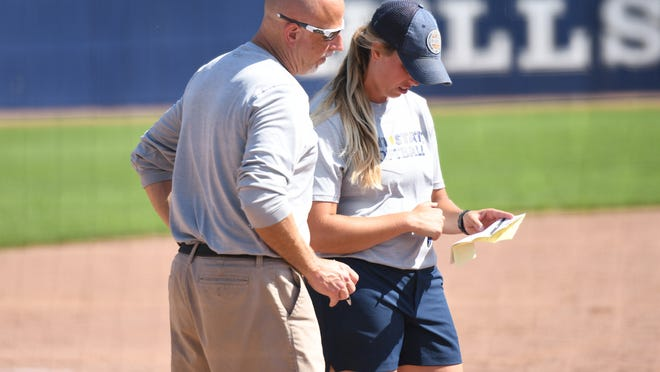 Emma Johnson (right), pictured with Kent State head softball coach Eric Oakley, has been promoted to associate head coach of the Golden Flashes.