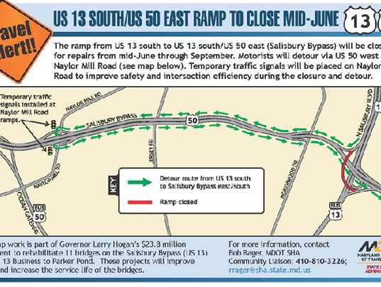 Salisbury Bypass Ramp Closing For Months For Road Work Md Us Map