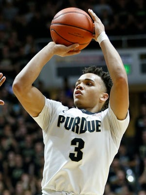 Carsen Edwards with a three-point shot against Penn State Saturday, January 21, 2017, at Mackey Arena. Purdue defeated Penn State 77-52.