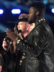 Pentatonix performs during the 59th Grammy Awards in
