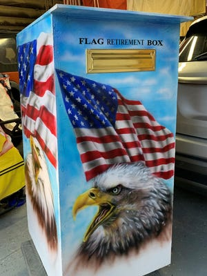 The disposal box created by Martinez will assist the American Legion Post No.9 and the La Junta Boy Scouts Troop 232 in properly destroying worn and tattered American flags.