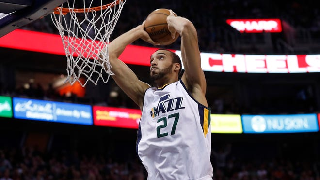 Rudy Gobert is first in the league in blocks, fifth in rebounds and second in field-goal percentage.