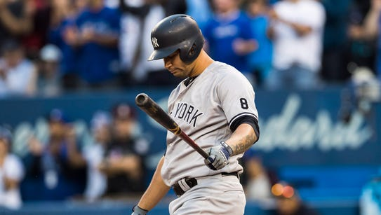 New York Yankees' Gary Sanchez reacts during his at-bat