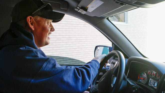 Lyft driver Ryan Farsdale chauffeurs a customer in his truck during the ride-hailing services opening day in South Dakota on Tuesday, Oct. 24, 2017. Farsdale is a full-time firefighter but also works a variety of part-time jobs.