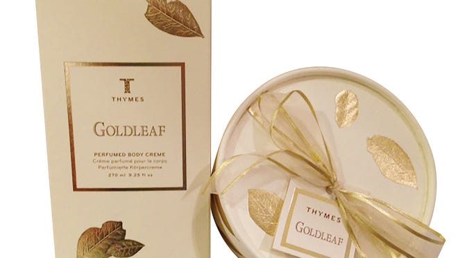 Goldleaf Perfumed Body Creme, $28, Dusting Powder and Puff, $36, The Linen Corner.