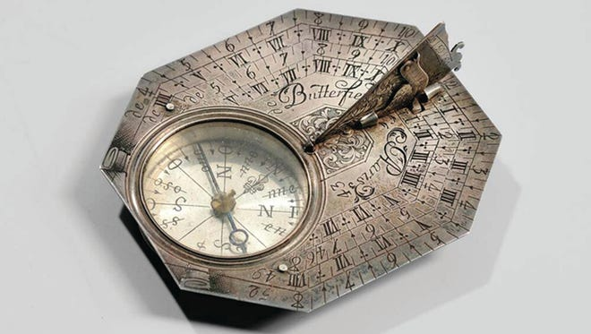 A small sundial by Michael Butterfield of Paris brought a big price at a Massachusetts auction recently. The unusual octagonal silver antique sold for $3,198.
