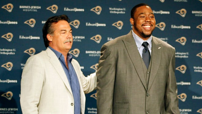 St. Louis Rams defensive tackle Nick Fairley meets the media at Rams Park.