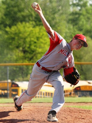 Milford High School pitcher Justin Arnold threw into the fourth inning of a 6-2 Eagles win over Anderson in the Division I baseball sectional title game May 22 last year.
