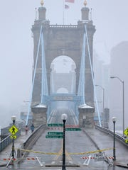 View looking south onto the John A. Roebling Bridge