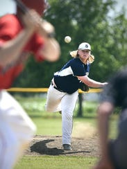 Luxemburg pitcher Isaac Matchinsky throws to St. Augusta's