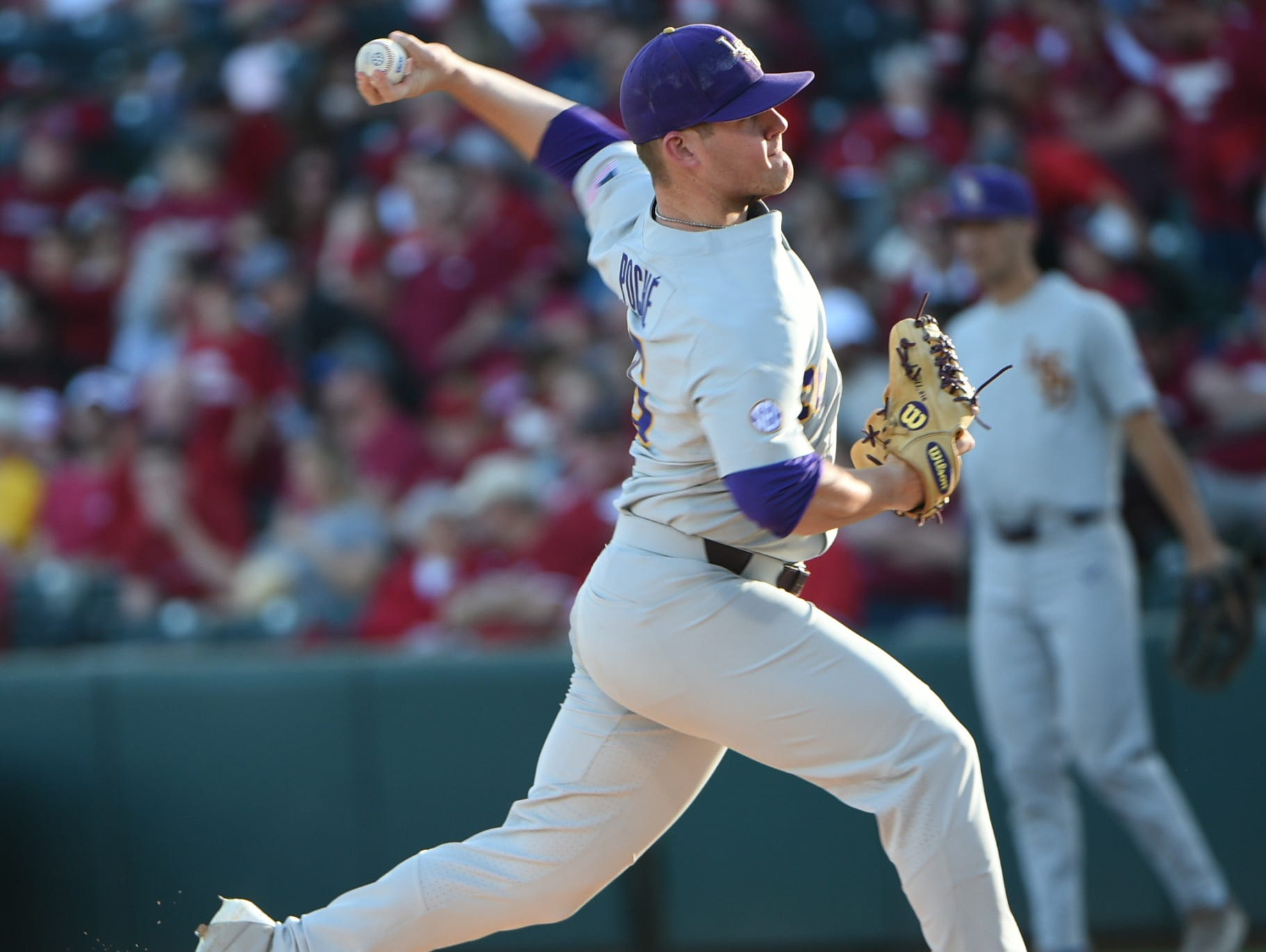 Jared Poche' starts for LSU in the second game of the series, April 8, 2017 in Fayetteville, Arkansas. Photo by Chris Daigle Special to the Advertiser