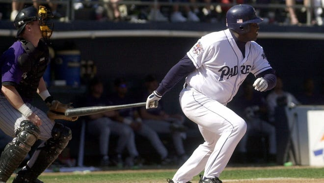 Tony Gwynn smacks a double in the penultimate game of his career in 2001.