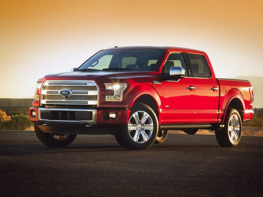 This undated photo provided by Ford shows the company's new 2015 F-150 pickup truck. The new F-150 is built almost entirely out of aluminum.
