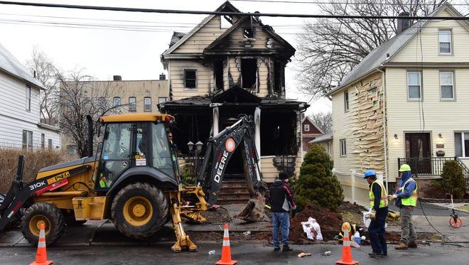 The scene of a fatal fire on Brinkerhoff St in Ridgefield Park Wednesday February 07, 2018.